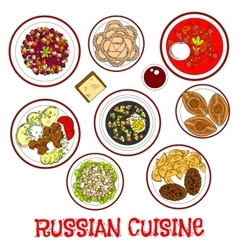 National food and drinks of russian cuisine sketch vector