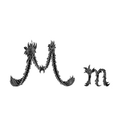 Abstract letter m logo icon black and white design vector