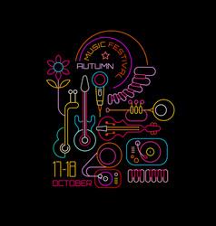 autumn music festival neon vector image vector image