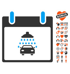 Car shower calendar day icon with valentine bonus vector