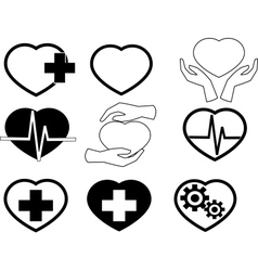 Cardio icons vector image vector image