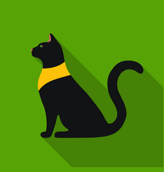 Cat goddess bastet icon in flat style isolated on vector