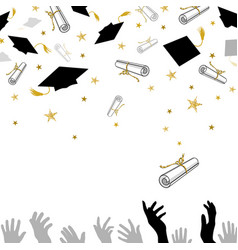 congratulatory on graduation with caps and vector image