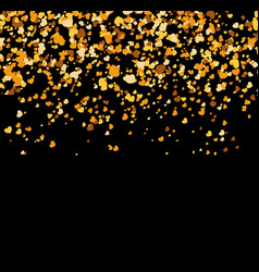 falling golden hearts on black background vector image