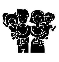 family - happy parents and children keep on hands vector image