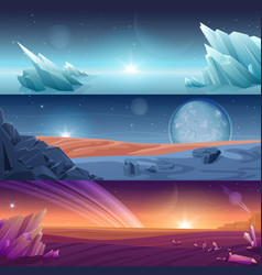 fantastic alien planet horizontal banners vector image