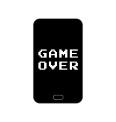 Game over end screen on smartphone - isolated vector image