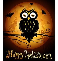 halloween owl silhouette vector image