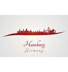 Hamburg skyline in red vector