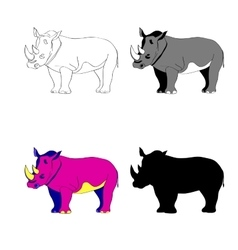 Image rhino line silhouette vector image