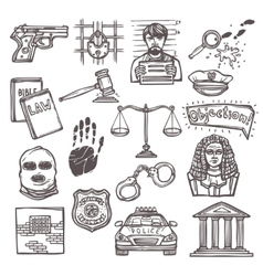 Law icon sketch vector image vector image
