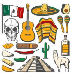 Mexican cinco de mayo fiesta sketch icons vector