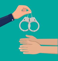 modern metal handcuffs vector image vector image