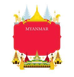 Myanmar landmarks culture frame vector