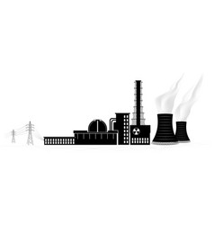 nuclear power plant silhouette non-renewable vector image