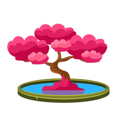 Pink tree growing in pond bonsai miniature vector