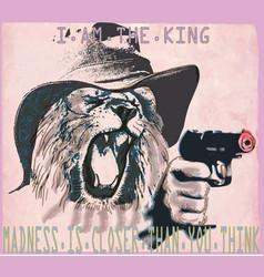 Psychopath lion the king - an hand drawn vector