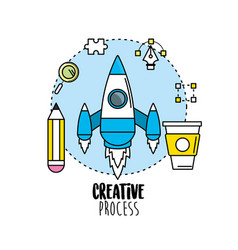 Rocket with pencil and creative process icons vector