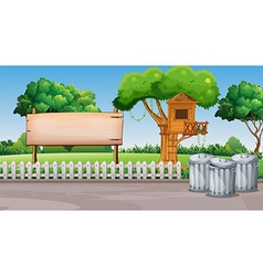 Scene with treehouse in the park vector