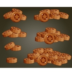 Set Of Bronze Coin Piles For Game vector image