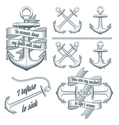 set of vintage anchors vector image vector image