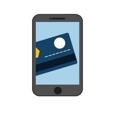 Smartphone credit card pay color shadow vector