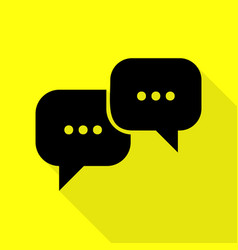 Speech bubbles sign black icon with flat style vector