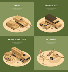 Square military vehicles isometric icon set vector