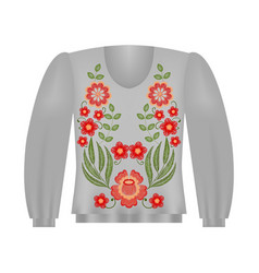 sweatshirt template with roses floral embroidery vector image