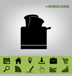 Toaster simple sign black icon at gray vector