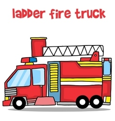 Transport of ladder fire truck cartoon vector