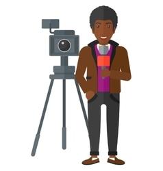 TV reporter working vector image