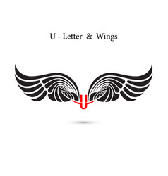 U-letter sign and angel wingsmonogram wing logo vector