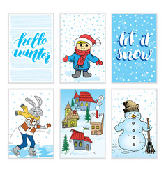 Winter cards hand drawn sketch doodles and vector