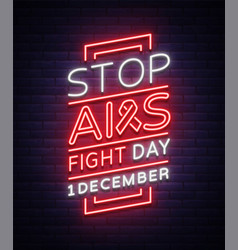 World aids day december 1 banner neon-style vector