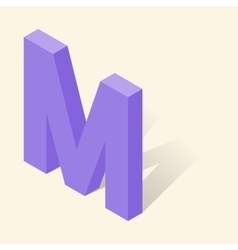 M letter in isometric 3d style with shadow vector