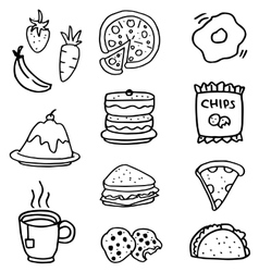 Doodle of food and drink hand draw vector