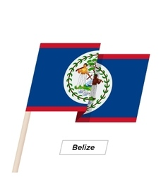 Belize ribbon waving flag isolated on white vector