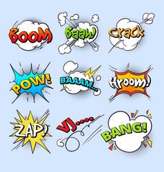Cartoon speech bubbles explode bang sound with vector