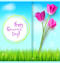 happy women day greetings card pink tulips on vector image