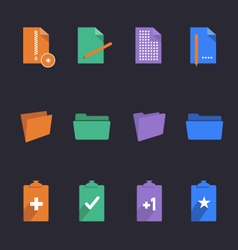 Stylish folders and documents icons vector