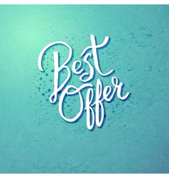 Best offer concept on blue green background vector