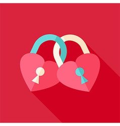 Two padlocks heart shaped vector