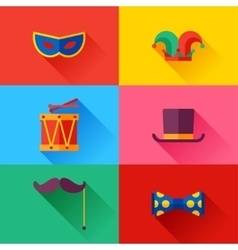 Celebration carnival set of flat icons and objects vector