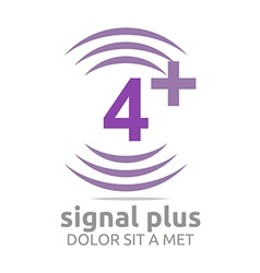 Logo signal number 4 plus purple figure wireless vector