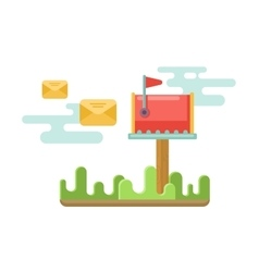 Mailbox at lawn with envelopes concept in flat vector