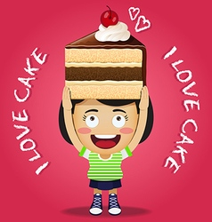 Happy woman carrying big piece of chocolate cake vector