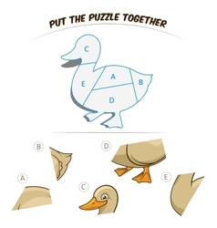 Puzzle game for chldren duck vector