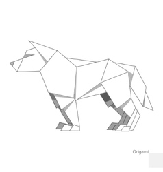 Origami paper wolf vector