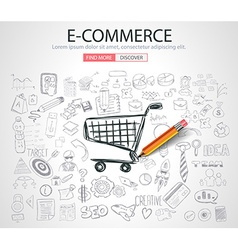 E-commerce concept with doodle design style vector